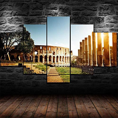 AWER Cuadro en lienzo abstracto moderno impresión de 5 piezas Ciudad de Roma Roma Italia Hd Lienzo Decorativo para Tu Sala De Estar Dormitorios Decoración para El Hogar