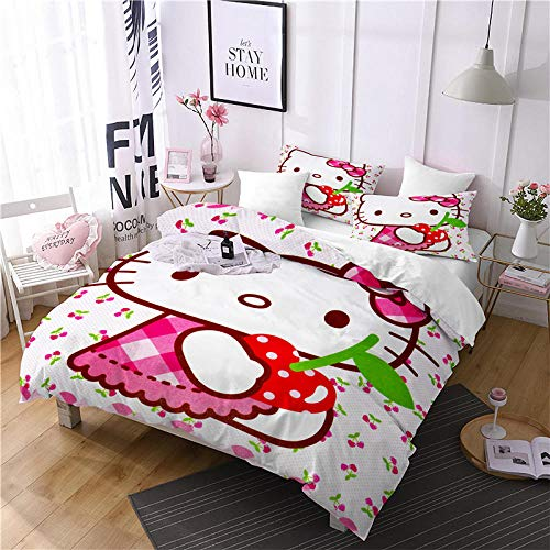 Matasuer Kids Duvet Cover Present ( Double size 200 x 200 cm) Simple cartoon cat Bedclothes 3D Bedding Sets for 4pcs Bed Quilt cover pillowcase + Soft Easy Care Anti-Allergic Bedding Set Gift for Tee