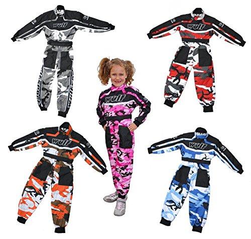 Wulfsport, combinaisons enfant Wulf pour courses de motocross LT PW CAMO et karting - rose -