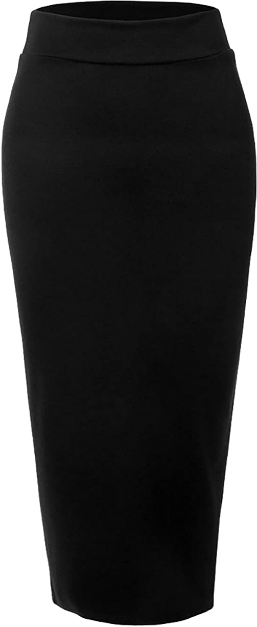 Ababalaya Women's Muslim Elastic Waist Ankle Length Pencil Bodycon Thicken Knited Skirt