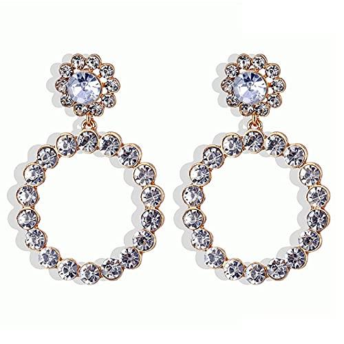 FEARRIN Pendientes Vintage de Diamantes de imitación, Pendientes de aro de Japón Vintage para Mujer, Dulce círculo de Perlas simuladas, joyería, Pendientes, Regalos H281-143-3