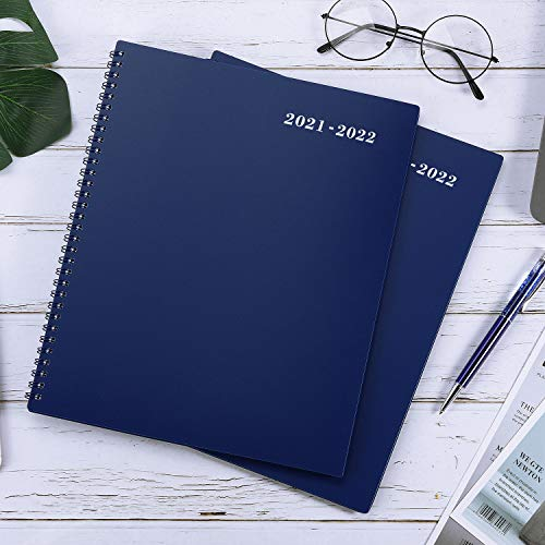 """Product Image 7: 2021-2022 Monthly Planner – 18-Month Planner with Tabs & Pocket & Label, Contacts and Passwords, 9"""" x 11″, Thick Paper, Jan. 2021 – Jun. 2022, Twin-Wire Binding – Navy Blue by Artfan"""