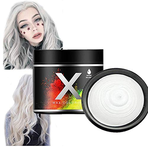 Temporäres Haarfarbe Wachs Farbe DIY Haar styling Creme Natürliche Waschbares Haarwachs Temporäres Haar Wax für Halloween Cosplay(weiß)
