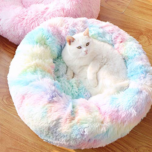 Dog Cave  Long Plush Pet Bed Dog Round Kennel Cat Winter Warm Sleeping Bag Puppy Cushion Mat Basket Bed House for Dogs-as Photo-60cm