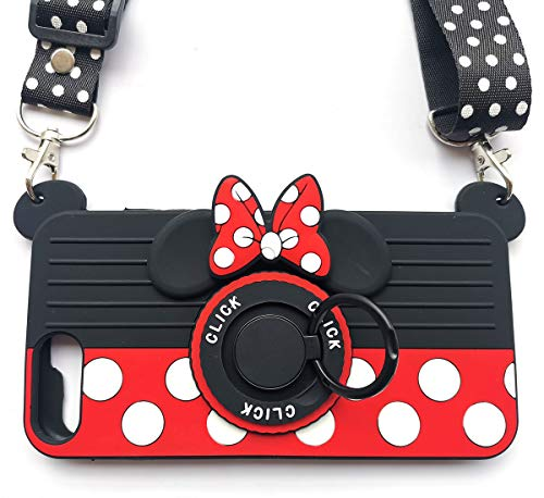 for iPhone 8 Plus Case iPhone 7 Plus Case iPhone 6 Plus Case with Lanyard Ring 3D Cute Soft Silicone Cartoon Minnie Mouse Camera Design Phone Case Best Gift for Women/Girls/Kids(8p/7p/6p 5.5in)