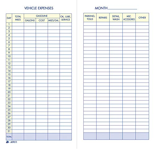 Adams Vehicle Expense Journal, , 3.25 x 6.25 Inches, White (AFR11)