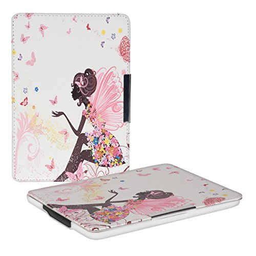 kwmobile Klapphülle kompatibel mit Amazon Kindle Paperwhite - Hülle eReader (für Modelle bis 2017) - Fee Mädchen Mehrfarbig Pink Weiß