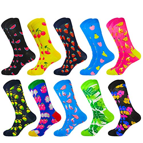 HIWEAR Vestido para hombre Colorido Diseño divertido Comodidad peinada Algodón Crew Pack de calcetines (10PK-mix4)