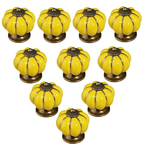 FBSHOP(TM) 10PCS 40mm Gelb Neuheit Kürbis geformte Keramik Tür Knopf Küche Schrank Schublade Schrank Möbelknopf Knob Baby Kinder Möbeldekor