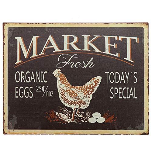 """Barnyard Designs Market Fresh Eggs Retro Vintage Tin Bar Sign Country Home Decor 10"""" x 13"""""""
