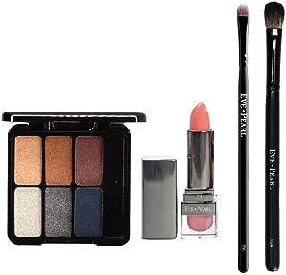 EVE PEARL 4 Pcs Diamond Eye Palette Lipstick And Brushes Makeup Kit Eyeshadow Brushes Make Up Set