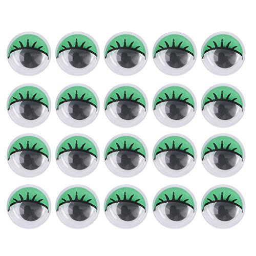 STOBOK 100Unids Ojos móviles saltones Redondos Adhesivos para DIY Manualidades Scrapbooking Accesorios de los Juguetes 20mm (Verde)