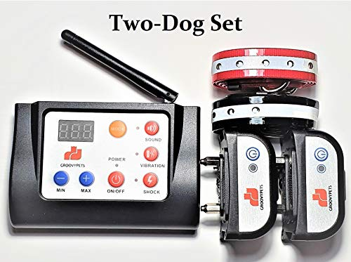 GROOVYPETS Electric Wireless Dog Containment Fence & Remote Training Shock Collar No Bark Trainer E Collar Combo for Small Medium Large Dog (2-Dog Set)