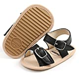 SOFMUO Baby GirlsSparkly Sandals Premium Soft Anti-Slip Rubber Sole Infant Summer Outdoor Shoes Toddler First Walkers(A1-Black,12-18 Months)