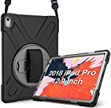 ProCase iPad Pro 12.9 2018 Rugged Case 3rd Gen (Old Model A1876/A2014/A1895), Heavy Duty Shockproof Cover with 360 Rotatable Kickstand, Adjustable Hand and Shoulder Strap for iPad Pro 12.9' 2018-Black