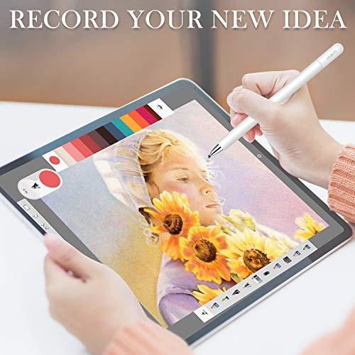MEKO Eingabestift Disc Touch Pen, 2 in 1 Stylus Pen universal Touchstift 100% kompatibel mit Allen Tablets Touchscreen iPhone iPad Surface Huawei usw, magnetische Kappe (weiß)