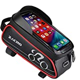 Zacro Bike Phone Mount Bags - Bicycle Front Frame Bag, Waterproof Bike Pouch Bag, Top Tube Frame Pannier Mobile Phone Touch Screen Holder Bike Bag with Headphone Hole for Smartphone Below 6 Inch