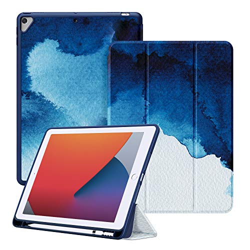 Ayotu Soft TPU Case for New iPad 10.2 8th Generation 2020/iPad 7th Generation 10.2' 2019/iPad Air 3rd 10.5 inch, Auto Sleep/Wake Slim Lightweight Trifold Stand Case with Pencil Holder, The Watercolor