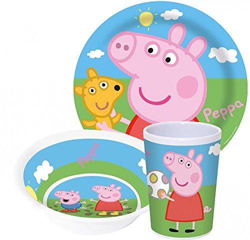 Little Flight Peppa Pig - Kit de comida, plato y vaso de melamina de Peppa Pig (1 plato, 1 vaso, 1 cuenco)