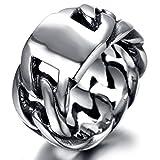 Beydodo Edelstahl Ring Herren Hohl Kette Breite 11 MM Partnerring Schwarz Silber Ring Größe 70 (22.3)