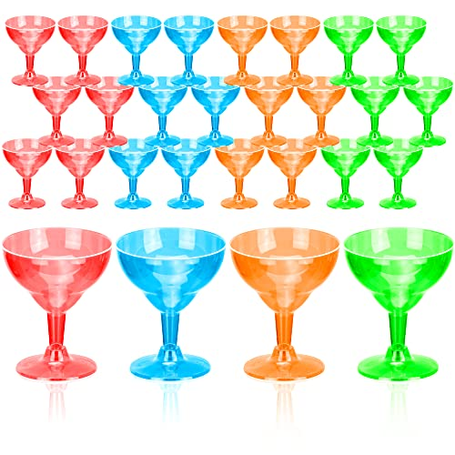 DecorRack 24 Neon Margarita Glasses, Plastic Party Champagne Cups, Perfect for Outdoor Parties, Weddings, Picnics, Stackable Stemmed, Reusable, Shatterproof Disposable Wine Glasses (Pack of 24)