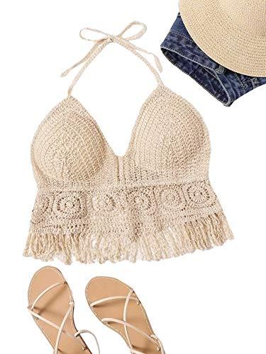 Romwe Women's Boho Crochet Backless Halter Crop Tops Fringe Hem Bikini Tops Beige one-Size