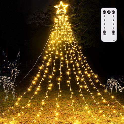 Litake Outdoor Christmas Star Lights 344 LED 8 Lighting Modes Outdoor Christmas Decorations Star Lights with Remote for Outside Tree Wall Yard Christmas Wedding Party