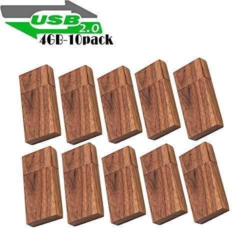 Wood Flash Drives 4GB, EASTBULL Wooden USB Flash Drive Thumb Drives Pack Walnut Memory Stick High Speed 2.0 (10 Pack)