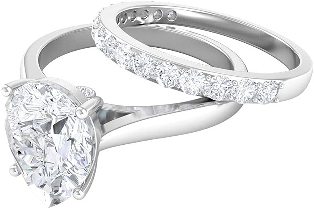 Unique Wedding Rings Set D-VSSI 2.4 MM Shape Pear CT High Max 76% OFF quality new Moiss 7X10