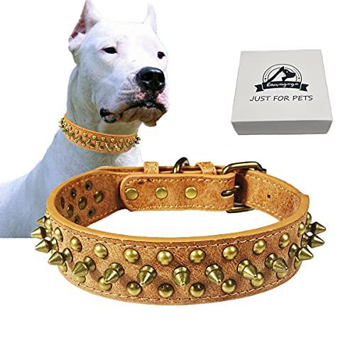 Kawagogo Spiked Studded Dog Collar, Anti-bite PU Leather Collar for...