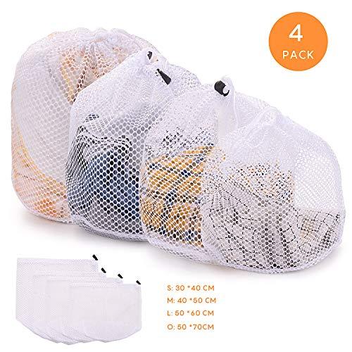 FORMIZON 4 Stück Waeschesack Waschmaschine mit Kordelstopper Wäschenetz Wäschesack Wäschebeutel für Waschmaschine, Kleidung, Oberbekleidung, Dessous, Socken, Strümpfe (Grobmaschiger Wäschesack)