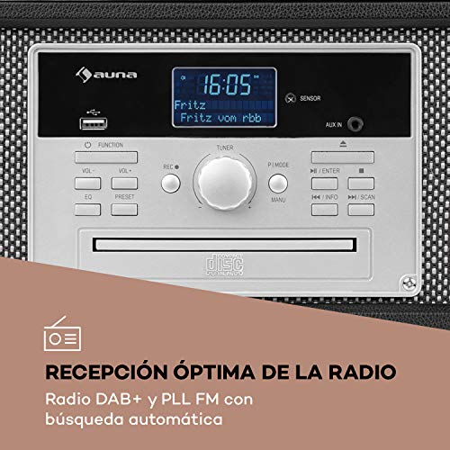 auna Mary ANN Tocadiscos - Dab+, 24W máx, Reproductor de CD, Bluetooth,...