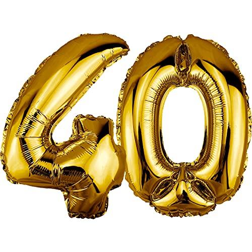 DekoRex Palloncino stagnola Compleanno Decorazione per l'aria 80cm Oro nomero: 40
