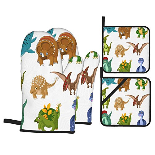 Airmark Oven Mitts and Pot Holders 4pcs Set,Cartoon Dinosaurs Collection Set,Heat Resistant Non-Slip Kitchen Mitten Cooking Gloves for Kitchen,Cooking,Baking,BBQ