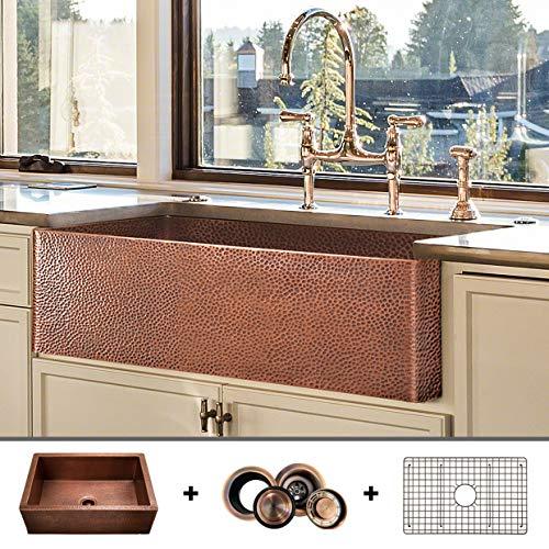 Luxury HEAVY-GAUGE (12-Gauge) 33-Inch Modern Copper Farmhouse Sink (48...