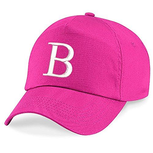 4sold Ricamo Bambino Cotone Estivo Cappello per Il Sole Bambini Scuola Bambini Cappelli Cappello Sport Alfabeto a-z Ragazzo Ragazza Regolabile Berretto da Baseball (Fucsia B, Bambini)