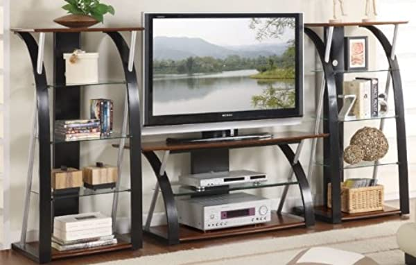 3pc Entertainment Centre With Media Tower In Espresso Finish