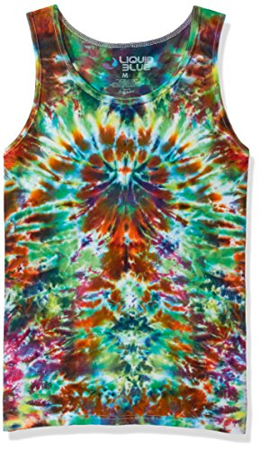 Liquid Blue Unisex-Adult's Crazy Krinkle Tank Top, Multi Colored tie dye, Small