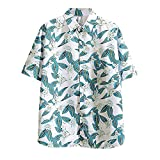 JJZSL Hombre Étnico Manga Corta Casual Lino De Algodón Impresión Hawaiian Camisa Blusa Pareja Suelta Ajuste Hawaii Transpirable Playa Camisas Mar (Color : B, Size : M Code)