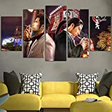 QWASD Yakuza Goro Majima Y Kazuma Kiryu 5 Piezas Pintura sobre Lienzo Moderna Pintura Impresión del Hogar Sala Estar Dormitorio Cuadro sobre Lienzo Regalo Carteles