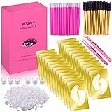 BTNOW 100 Pairs Under Eyes Pads Eyelash Suit with Lip Brush Eyelash Brush Eyelash Extension Ring and Eyelash Extension Tweezers