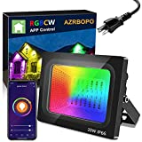 LED Flood Lights Outdoor, 20W Floodlights Indoor RGB Color Changing, Bluetooth Floor Lamp Party Uplighting Landscape, LED Wall Wash Halloween Christmas Spotlight Strobe Light Uplight Stage Lighting