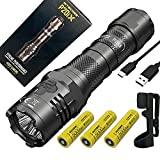 Nitecore P20iX USB-C Rechargeable LED Flashlight - 4000 lumen - w/ 2x EXTRA NL2150HPi Batteries, Holster and USB Eco-Sensa Charging Cable Included