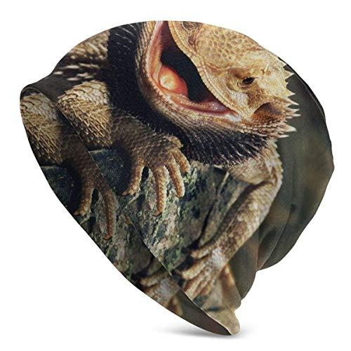 FETEAM Gorro Slouch Beanie, Transpirable, Ligero, Elástico, Suave Gorra de Calavera Lagartos dragón barbudos
