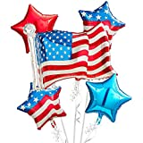 4th of July Balloon Decorations in Red White Blue | USA Patriotic American Flag & Stars | Party Supplies Mylar Balloons Decor for the Fourth, Military Homecomings, Memorial & Veterans Day, and More!