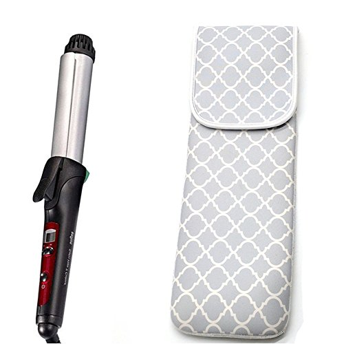 ALLENLIFE Women's Heat Resistant Neoprene Curling Iron Holder Flat Iron Curling Wand Travel Storage Cover Case Bag Pouch -Water-Resistant (Grey Chervon )