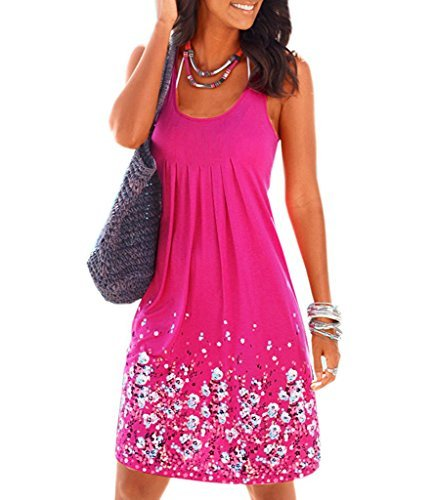 Women's Casual Loose Floral Mini Print Pleated Sleeveless Sundress A-Line Beach Dress(Rose...