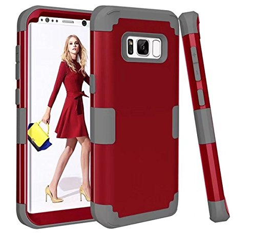 AIsoar Galaxy S8 Plus Case, Galaxy S8 Plus Cover 3 in 1 Drop-Protection Hard PC Soft Silicone Defender Heavy Duty Rugged Shockproof Bumper Full-Body Protective Case (Rosso, Samsung Galaxy S8 Plus)