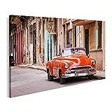 islandburner Cuadro en Lienzo Coche clásico Americano de época en una Calle de la Habana Vieja, Cuba Cuadros Modernos Decoracion Impresión Salon