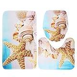 DREAMING-Alfombra Antideslizante De 3 Piezas Alfombrilla De Baño + Asiento De Inodoro con Tapa + Alfombrilla De Baño Impresión Personalizada De Ilustraciones 45cm * 75cm